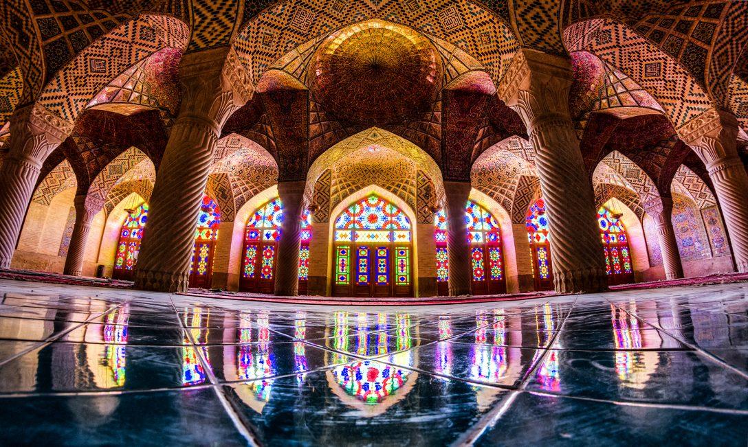 The brightly coloured interior of Nasir ol Molk Mosque, Shiraz City, Iran.